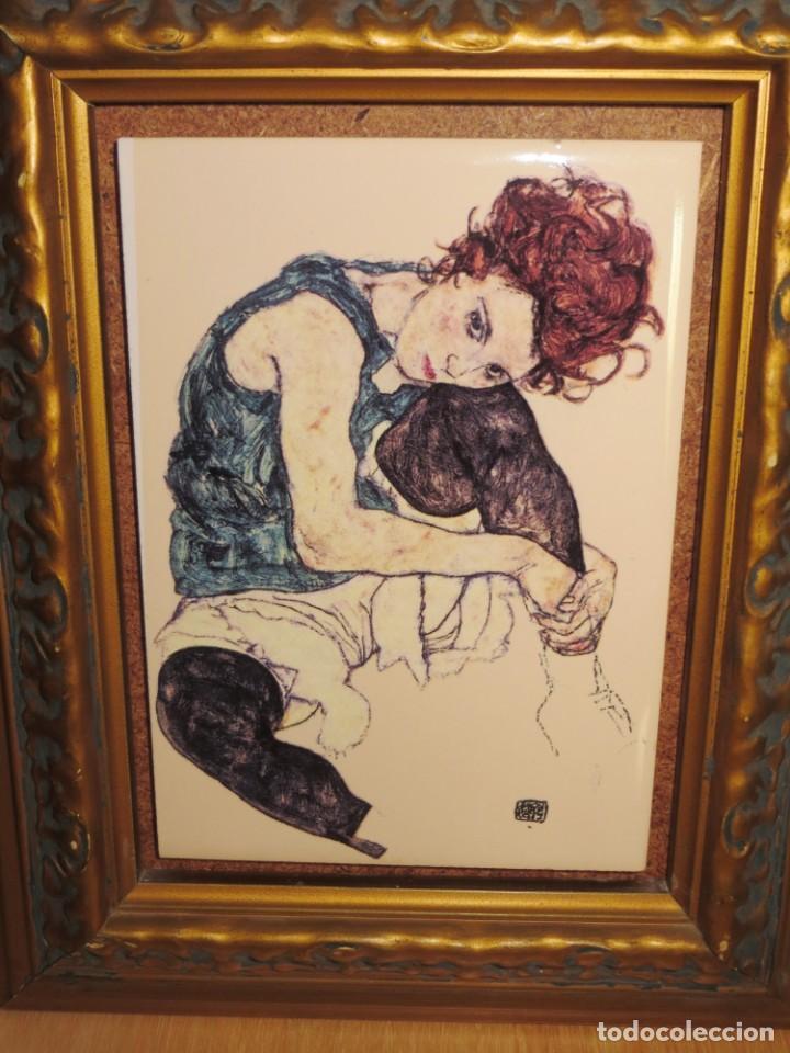 Varios objetos de Arte: Cuadro azulejo Edith, la mujer del artista Egon Schiele - Foto 2 - 278980963