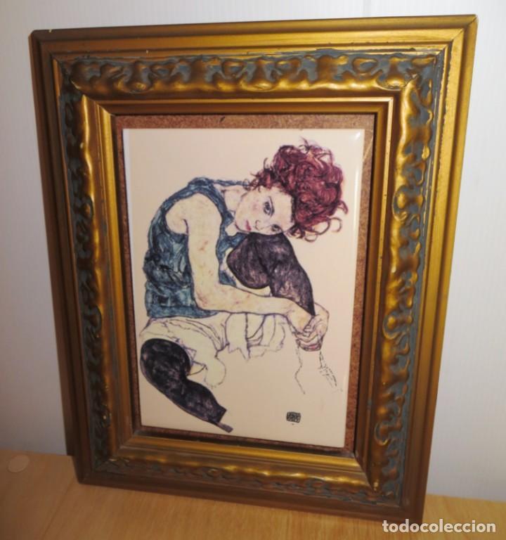 Varios objetos de Arte: Cuadro azulejo Edith, la mujer del artista Egon Schiele - Foto 3 - 278980963
