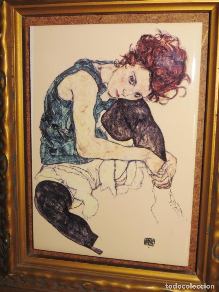 Varios objetos de Arte: Cuadro azulejo Edith, la mujer del artista Egon Schiele - Foto 4 - 278980963