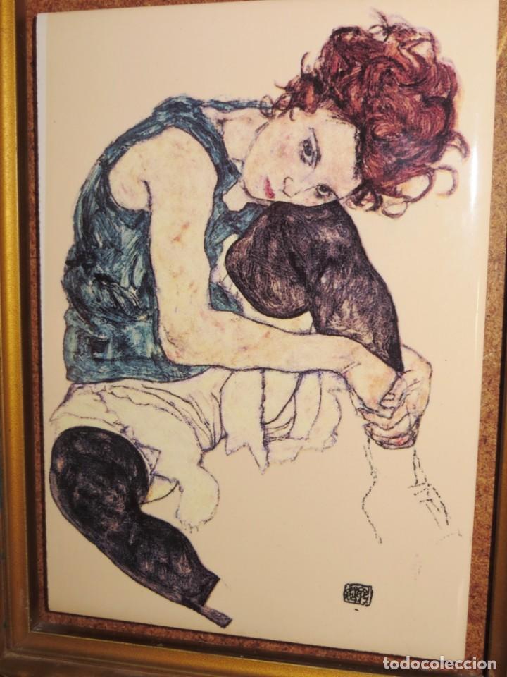 Varios objetos de Arte: Cuadro azulejo Edith, la mujer del artista Egon Schiele - Foto 5 - 278980963
