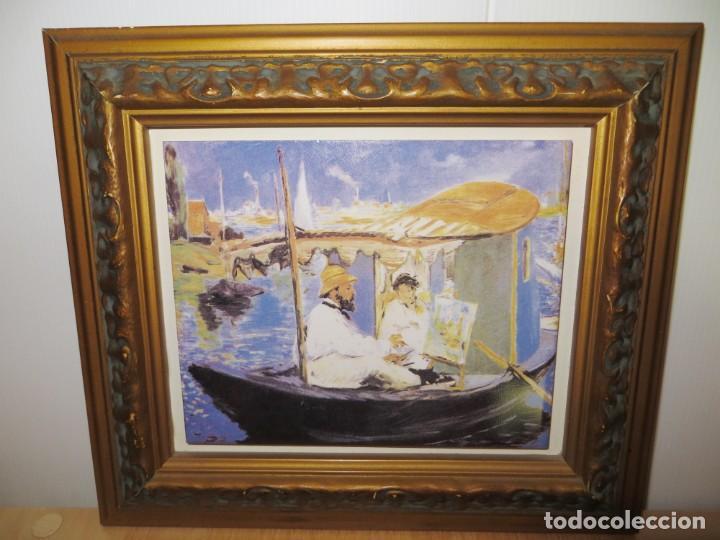 CUADRO AZULEJO CLAUDE MONET Y SU MUJER EN EL TALLER FLOTANTE EDOUARD MANET (Arte - Varios Objetos de Arte)