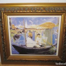 Varios objetos de Arte: CUADRO AZULEJO CLAUDE MONET Y SU MUJER EN EL TALLER FLOTANTE EDOUARD MANET. Lote 278981023
