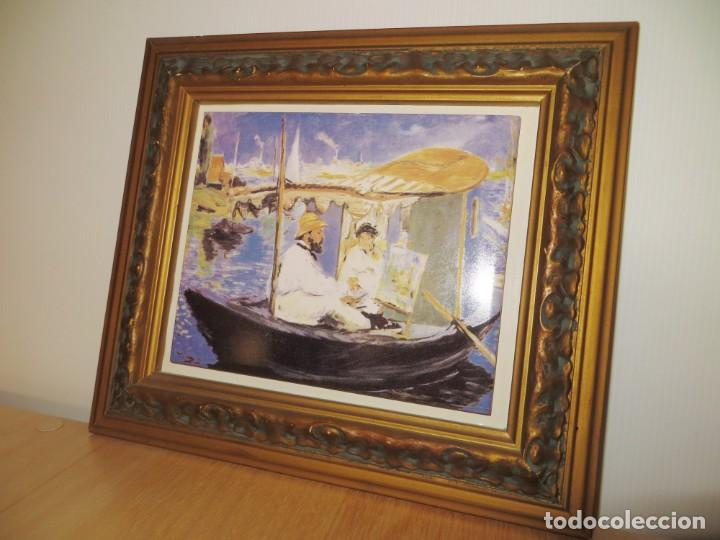Varios objetos de Arte: Cuadro azulejo Claude Monet y su mujer en el taller flotante Edouard Manet - Foto 2 - 278981023