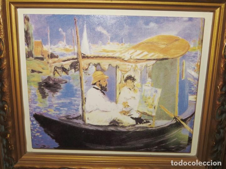 Varios objetos de Arte: Cuadro azulejo Claude Monet y su mujer en el taller flotante Edouard Manet - Foto 3 - 278981023