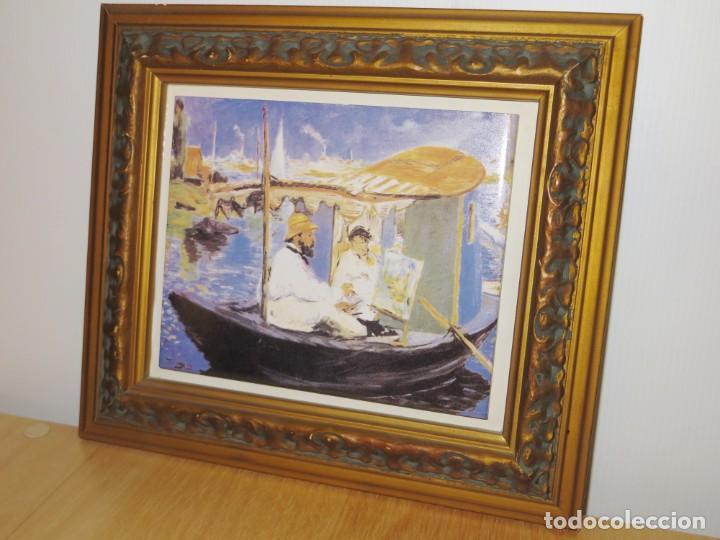 Varios objetos de Arte: Cuadro azulejo Claude Monet y su mujer en el taller flotante Edouard Manet - Foto 4 - 278981023