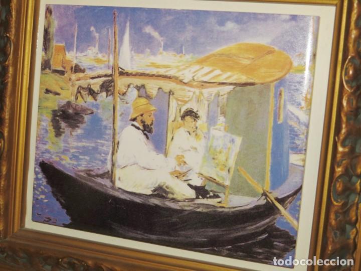 Varios objetos de Arte: Cuadro azulejo Claude Monet y su mujer en el taller flotante Edouard Manet - Foto 5 - 278981023