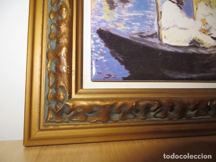 Varios objetos de Arte: Cuadro azulejo Claude Monet y su mujer en el taller flotante Edouard Manet - Foto 8 - 278981023