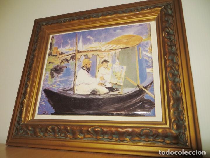 Varios objetos de Arte: Cuadro azulejo Claude Monet y su mujer en el taller flotante Edouard Manet - Foto 10 - 278981023
