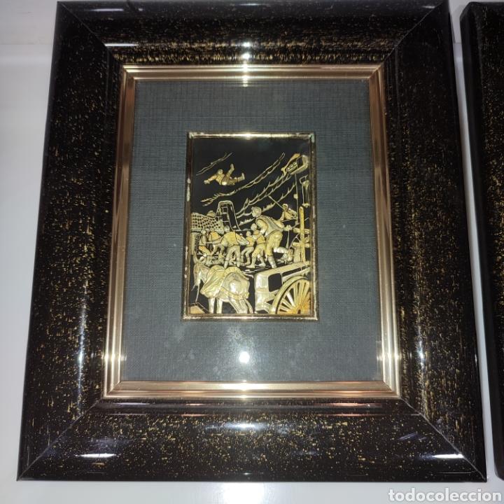 Varios objetos de Arte: LOTE 4 CUADROS TOLEDANOS DAMASQUINADOS CON RELIEVE DON QUIJOTE - Foto 2 - 281022898