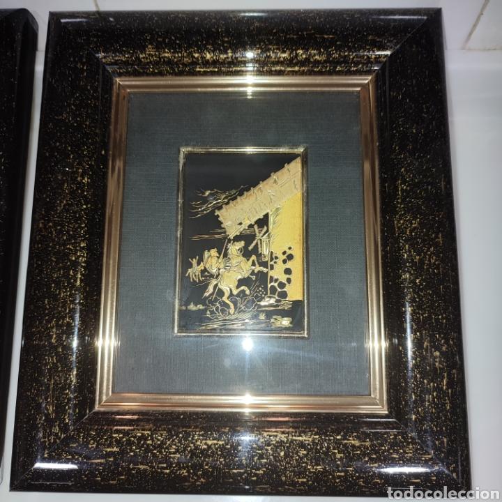 Varios objetos de Arte: LOTE 4 CUADROS TOLEDANOS DAMASQUINADOS CON RELIEVE DON QUIJOTE - Foto 4 - 281022898