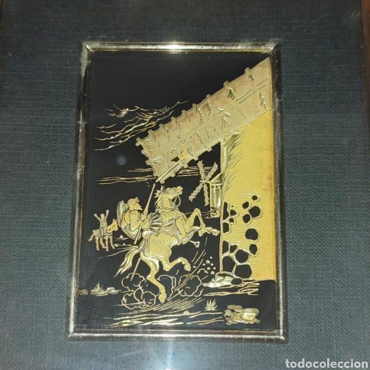 Varios objetos de Arte: LOTE 4 CUADROS TOLEDANOS DAMASQUINADOS CON RELIEVE DON QUIJOTE - Foto 5 - 281022898