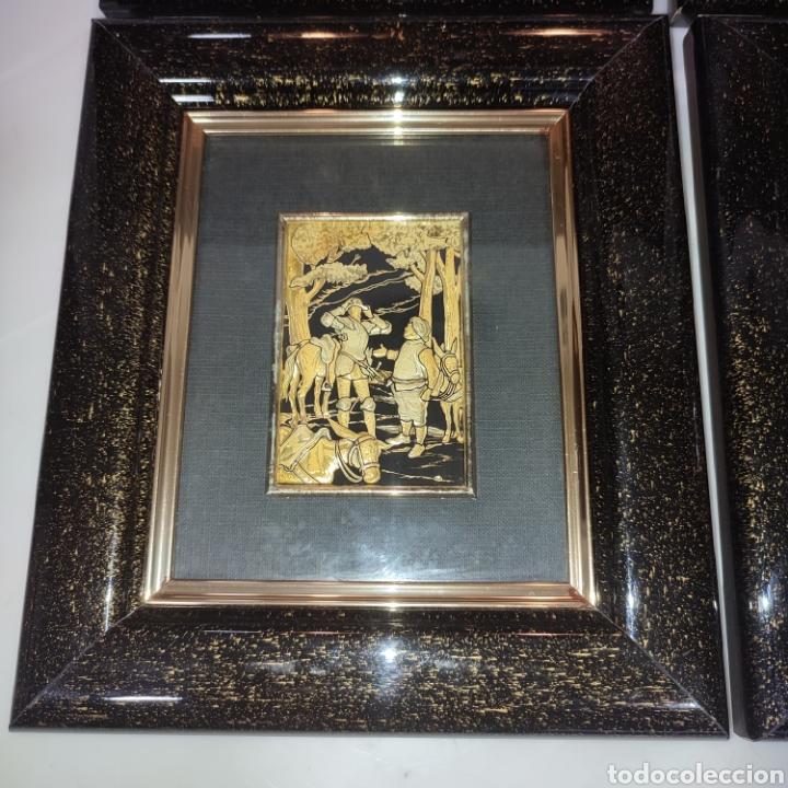 Varios objetos de Arte: LOTE 4 CUADROS TOLEDANOS DAMASQUINADOS CON RELIEVE DON QUIJOTE - Foto 6 - 281022898