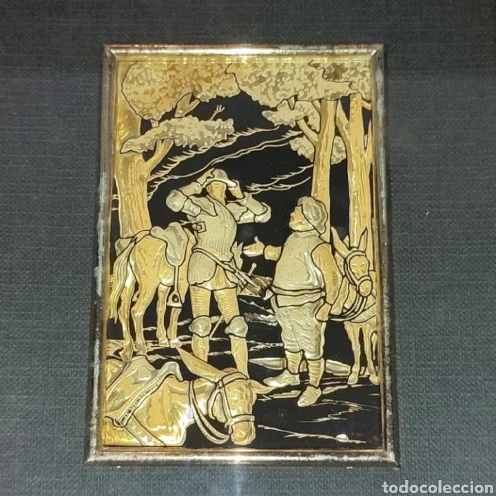 Varios objetos de Arte: LOTE 4 CUADROS TOLEDANOS DAMASQUINADOS CON RELIEVE DON QUIJOTE - Foto 7 - 281022898