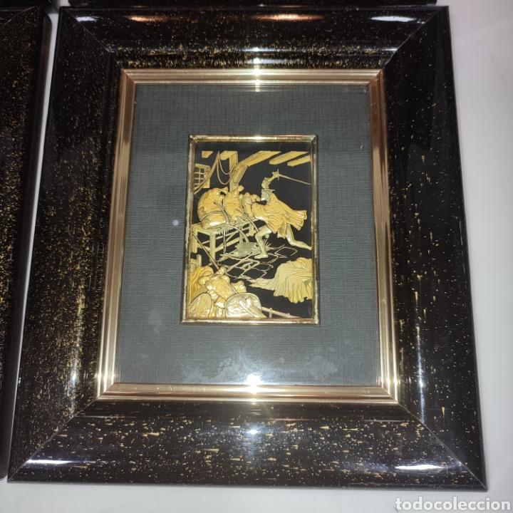 Varios objetos de Arte: LOTE 4 CUADROS TOLEDANOS DAMASQUINADOS CON RELIEVE DON QUIJOTE - Foto 8 - 281022898
