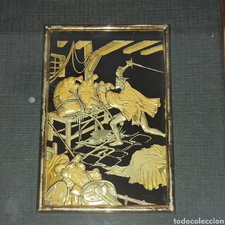 Varios objetos de Arte: LOTE 4 CUADROS TOLEDANOS DAMASQUINADOS CON RELIEVE DON QUIJOTE - Foto 9 - 281022898