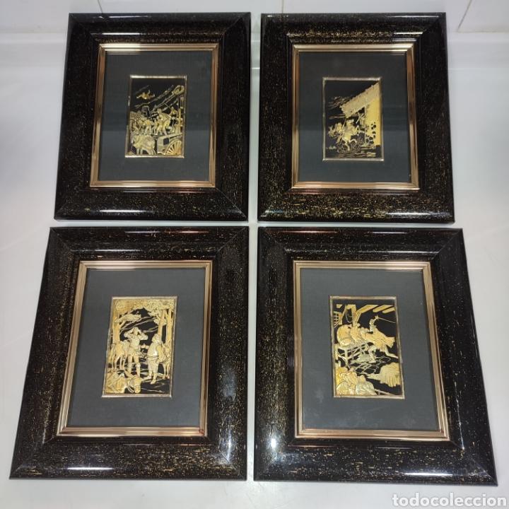 LOTE 4 CUADROS TOLEDANOS DAMASQUINADOS CON RELIEVE DON QUIJOTE (Arte - Varios Objetos de Arte)