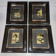 Varios objetos de Arte: LOTE 4 CUADROS TOLEDANOS DAMASQUINADOS CON RELIEVE DON QUIJOTE. Lote 281022898