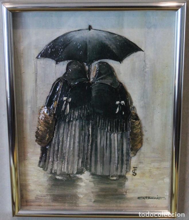 Varios objetos de Arte: Ancianas bajo el paraguas, relieve vitrificado, - Foto 2 - 286159438
