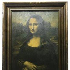 Varios objetos de Arte: IMPRESIÓN SOBRE TELA DE LA GIOCONDA PEQUEÑA FALTA Y MARCO CON ALGUNAS MARCAS 69X52CM 57X39CM. Lote 286373558