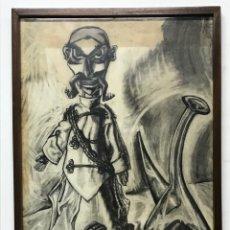 Varios objetos de Arte: DIBUJO ORIGINAL FIRMADO TANIA EN LA PARTE SUPERIOR SE VE COMO SI POR EL SOL SE HAYA DESCOLORIDO. Lote 286373833