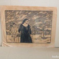Varios objetos de Arte: RAMON OLIVERA. LINOLEOGRAFIA CON TIRAJE 2/10. ESCENA RELIGIOSA. Lote 286451813