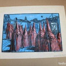 Varios objetos de Arte: RAMON OLIVERA. LINOLEOGRAFIA CON TIRAJE 5/5. PROCESION DE SEMANA SANTA. Lote 286453243