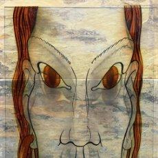 Varios objetos de Arte: EXTRAÑO CRISTAL PINTADO - TÉCNICA DE VIDRIERA - BOCETO - PERSONAJE - VIDRIO ANTIGUO - ORIGINAL. Lote 286569588