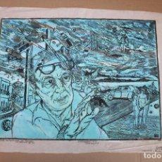 Varios objetos de Arte: RAMON OLIVERA. LINOLEOGRAFIA CON TIRAJE P/A. AUTORETRATO. Lote 286593528