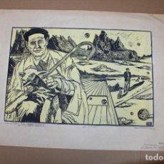 Varios objetos de Arte: RAMON OLIVERA. LINOLEOGRAFIA CON TIRAJE P/A. ODA AL PASTOR. Lote 286593603