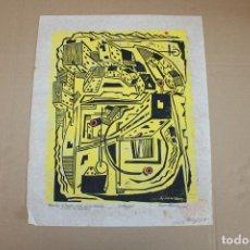 Varios objetos de Arte: RAMON OLIVERA. LINOLEOGRAFIA CON TIRAJE 4/5. RECUERDOS DE ESPAÑA. Lote 286593983