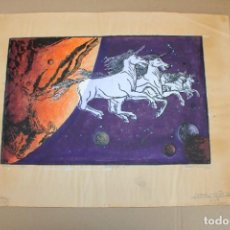 Varios objetos de Arte: RAMON OLIVERA. LINOLEOGRAFIA CON TIRAJE 6/9. UNICORNIOS EN FUGA. Lote 286594093