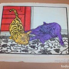 Varios objetos de Arte: RAMON OLIVERA. LINOLEOGRAFIA CON TIRAJE 2/10. DOS MININOS FRENTE DE PUERTA ROJA. Lote 286594293