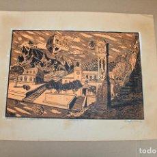 Varios objetos de Arte: RAMON OLIVERA. LINOLEOGRAFIA CON TIRAJE 8/10. REMINISCENCIA CONCEPTUAL DE ROCAFORT (VALENCIA). Lote 286594523