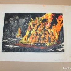 Varios objetos de Arte: RAMON OLIVERA. LINOLEOGRAFIA CON TIRAJE 4/6. LA CREMA, FALLAS DE SAN JOSE (VALENCIA). Lote 286594903