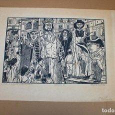 Varios objetos de Arte: RAMON OLIVERA. LINOLEOGRAFIA CON TIRAJE 4/5. FIESTAS DE LOS GIGANTES Y CABEZUDOS. Lote 286595048
