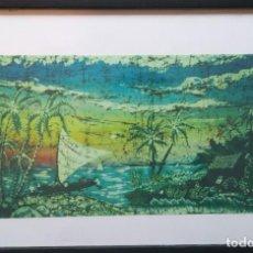 Varios objetos de Arte: CUADRO PAISAJE TROPICAL // VINTAGE DECORACIÓN MARCO RETRO ESPEJO FIGURA PINTURA ÓLEO ACUARELA DIBUJO. Lote 287603253