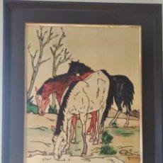 Varios objetos de Arte: ANTIGUO CUADRO ESMALTADO CABALLOS. Lote 287875013