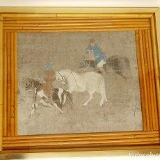 Varios objetos de Arte: CUADRO QUE REPRODUCE UNA PINTURA ECUESTRE ANTIGUA CHINA.. Lote 287961383