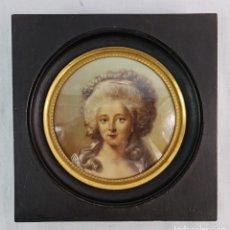 Varios objetos de Arte: GRAN MINIATURA PINTADA SOBRE CRISTAL OPALINA. CA 1890 FRANCE. MINIATURE PAINTING OVER GLASS. Lote 287990438