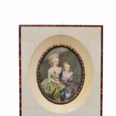 Varios objetos de Arte: MINIATURA PINTADA SOBRE MARFIL. CA 1900 EUROPE. MINIATURE PAINTING OVER IVORY. Lote 288159843