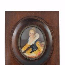 Varios objetos de Arte: MINIATURA PINTADA SOBRE MARFIL. CA 1900 EUROPE. MINIATURE PAINTING OVER IVORY. Lote 288162053