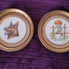 Varios objetos de Arte: ANTIGUOS CUADROS DECORATIVO MADERA Y PORCELANA. Lote 288481218