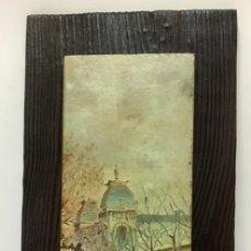 Varios objetos de Arte: CUADRO MADERA CON ESCENA DE MUJERES PASEANDO EN PARIS . VINTAGE.AÑOS 70.. Lote 288576663