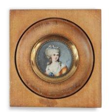 Varios objetos de Arte: MINIATURA PINTADA EN MARFIL. IVORY MINIATURE PAINTING.. Lote 288660603
