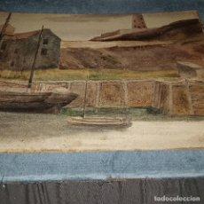 Varios objetos de Arte: PINTURA IMGLESA ANTIGUA PUERTO MARINA Y FARO ACUARELA PAISAJE MARINO 1900. Lote 288695283