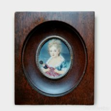 Varios objetos de Arte: MINIATURA PINTADA EN MARFIL. IVORY MINIATURE PAINTING. CA 1890. Lote 288972683