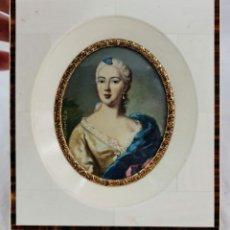 Varios objetos de Arte: MINIATURA PINTADA EN MARFIL. IVORY MINIATURE PAINTING.. Lote 289011848