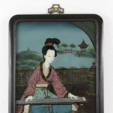 Varios objetos de Arte: ÓLEO SOBRE CRISTAL CHINO. DAMA CON INSTRUMENTO. MARCO DE MADERA. MEDIADOS SIGLO XX. Lote 289247633