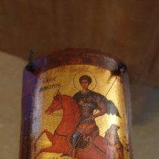 Varios objetos de Arte: PEQUEÑA TEJA DE BARRO CON REPRESENTACIÓN ORTODOXA DE SANT JORGE.. Lote 289366743