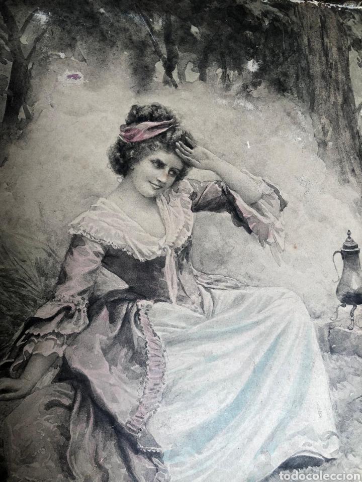PRECIOSA ESCENA GALANTE SOBRE CARTÓN. CIRCA 1920. DIMENSIONES: 32X21 CM. (Arte - Varios Objetos de Arte)